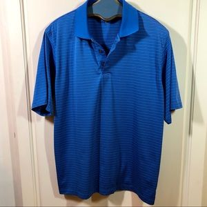 Men's Pebble Beach SS Golf Shirt Blue Stripe Sz L